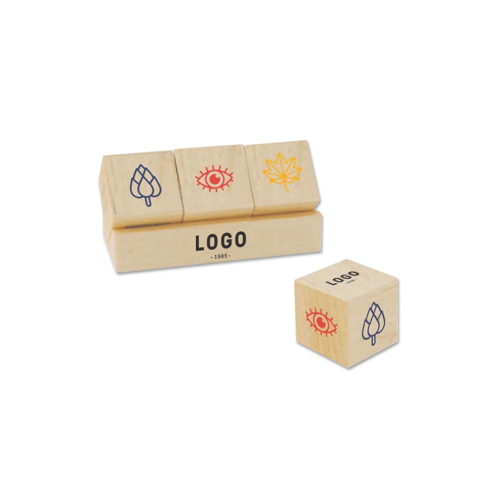 130251 wood block desk set 1 cubes four spot color imprint on front of tray unique four spot color imprint on six sides of each cube