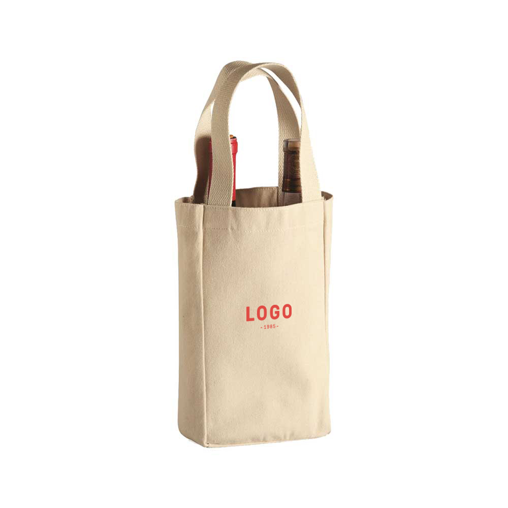 130233 cotton double wide wine tote one color one location imprint