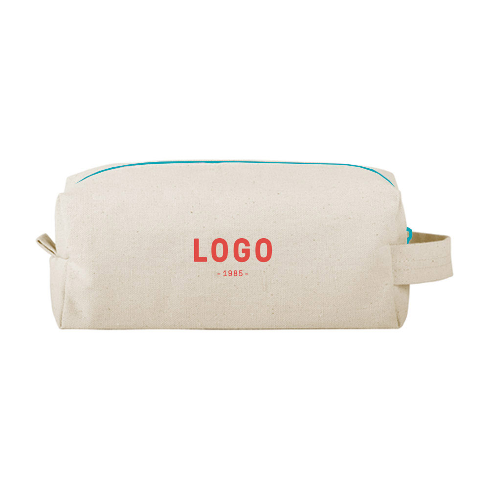 130202 dippy dopp kit cotton canvas one color imprint full bleed choice of canvas color