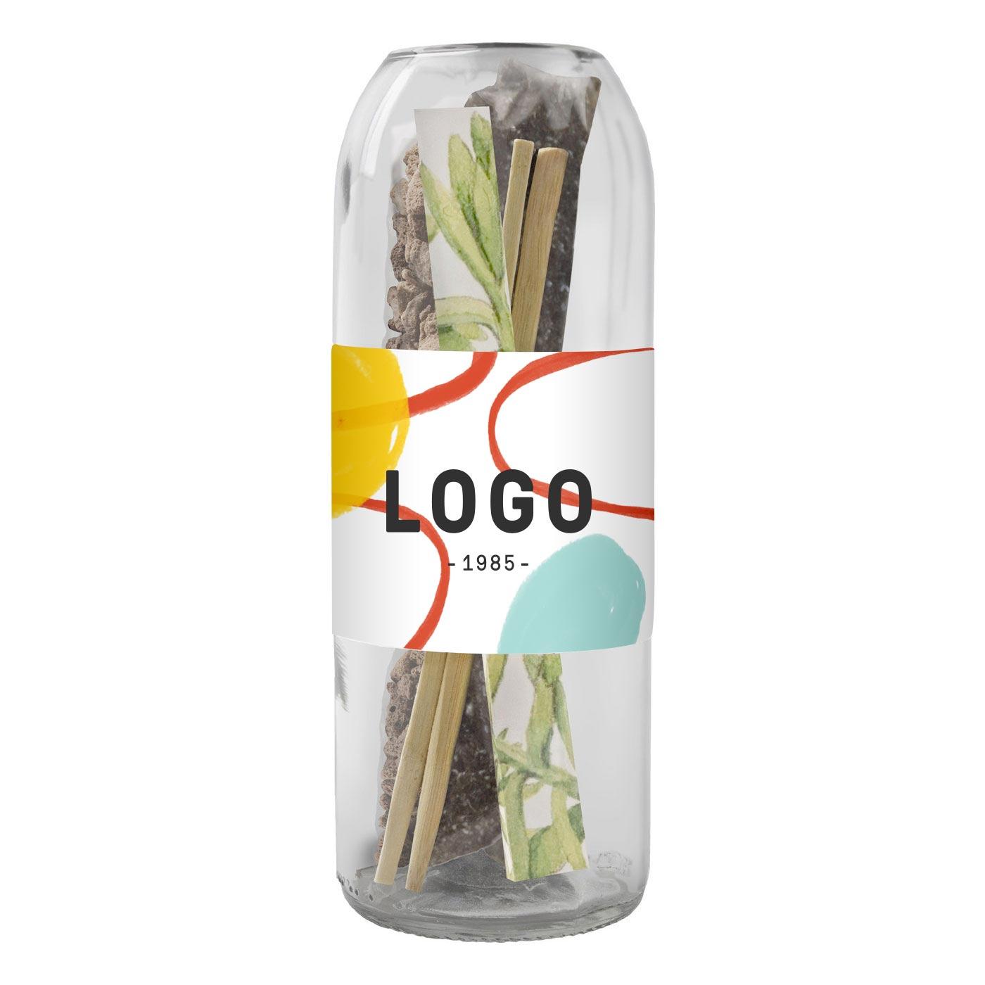 130193 bottle terrarium sedum one color one location imprint full color label