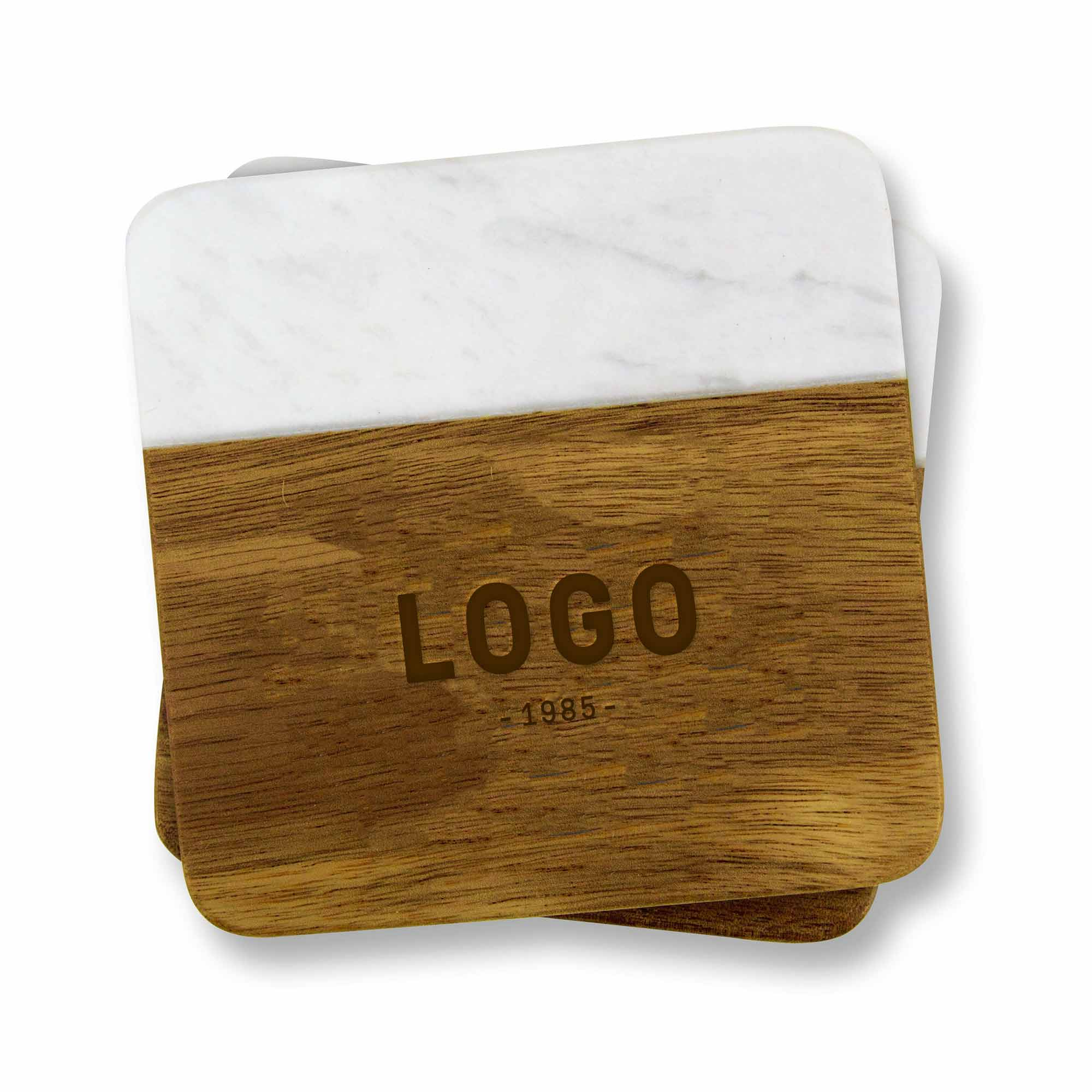 130172 acacia and marble coaster set choice of laser engraving on wood or one color logo on marble