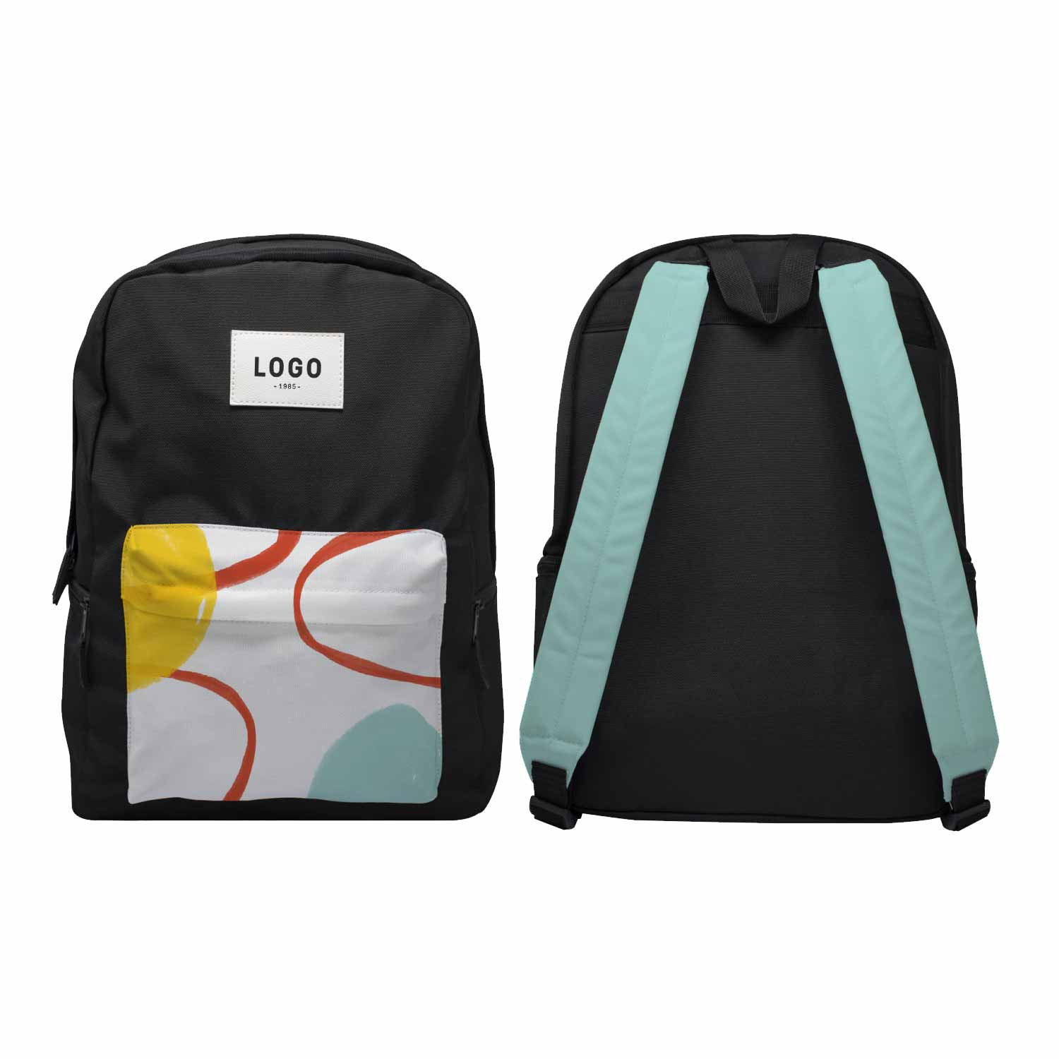 128190 oakland backpack full color imprint on patch front pocket and straps