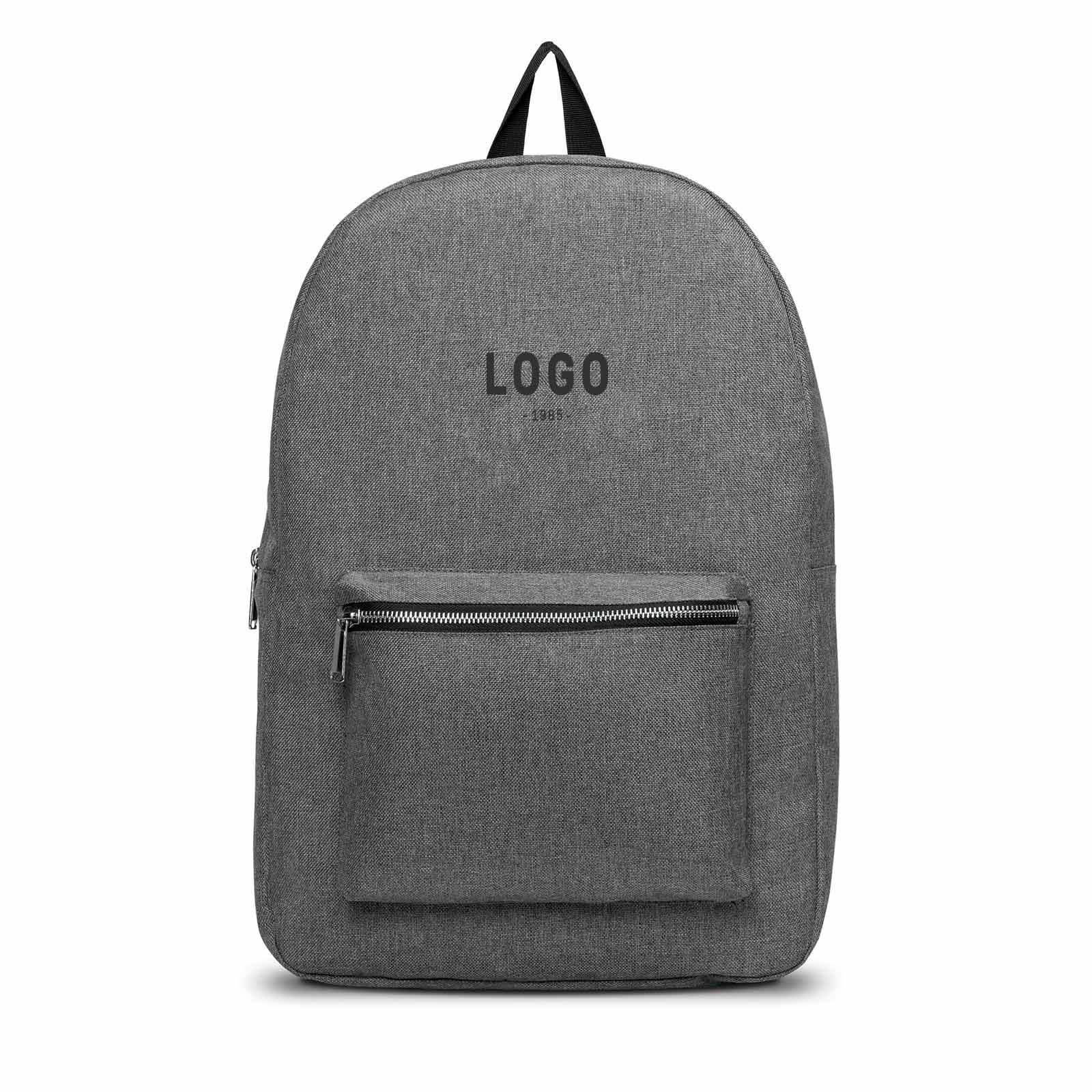 122715 heather backpack one color imprint