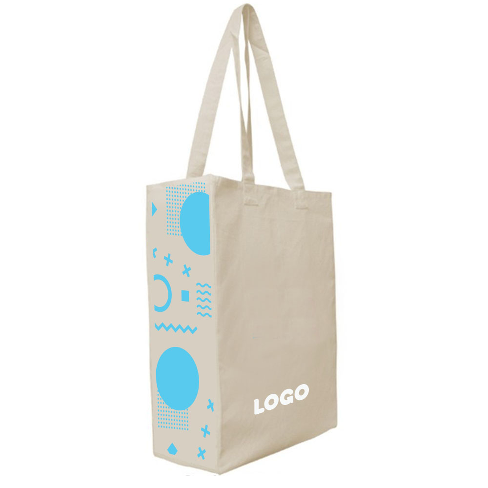 137877 accent cotton tote full color digital print on both gusset sides and one color print on front