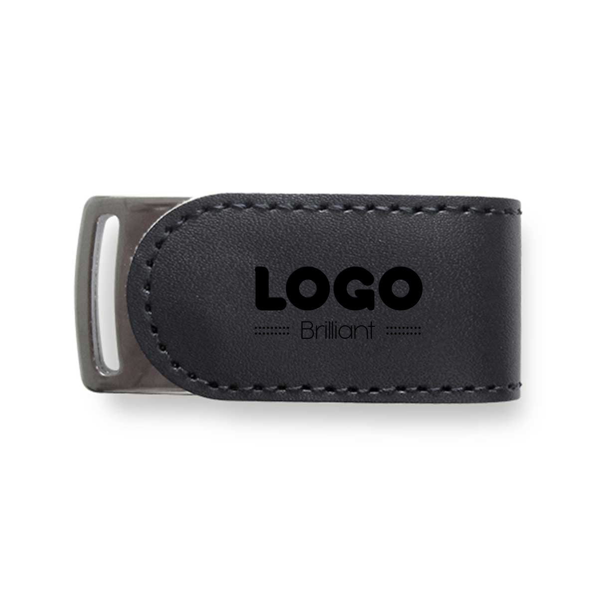 134862 leather flash drive one color imprint one location software encrypted 2gb