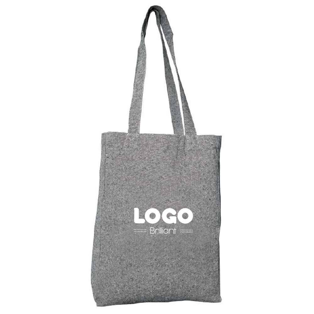 134813 tweed gray cotton tote one color one location imprint