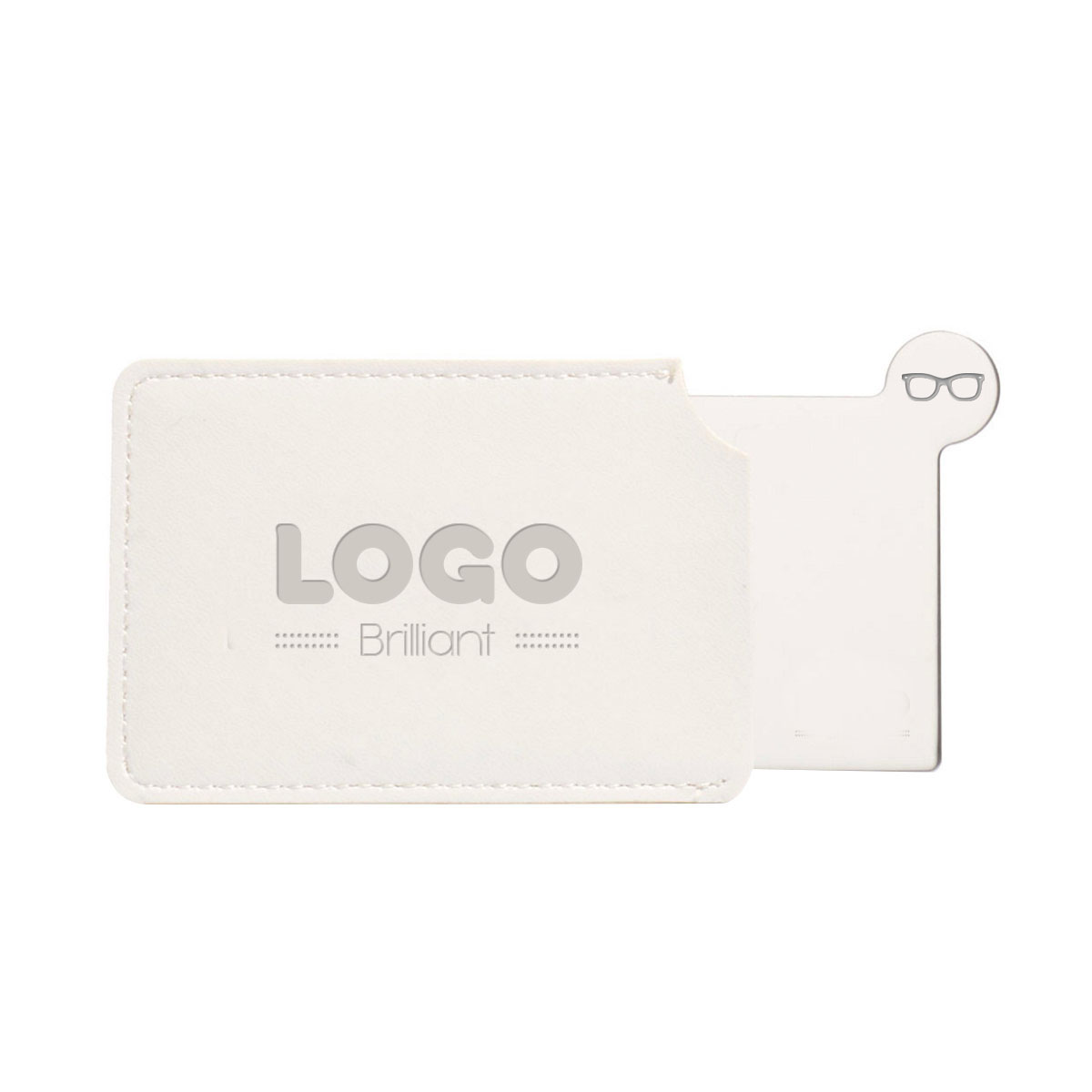 134785 stainless steel mirror one location embossed logo