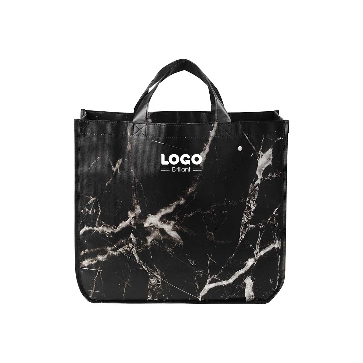 134779 marbled tote one color only one location imprint