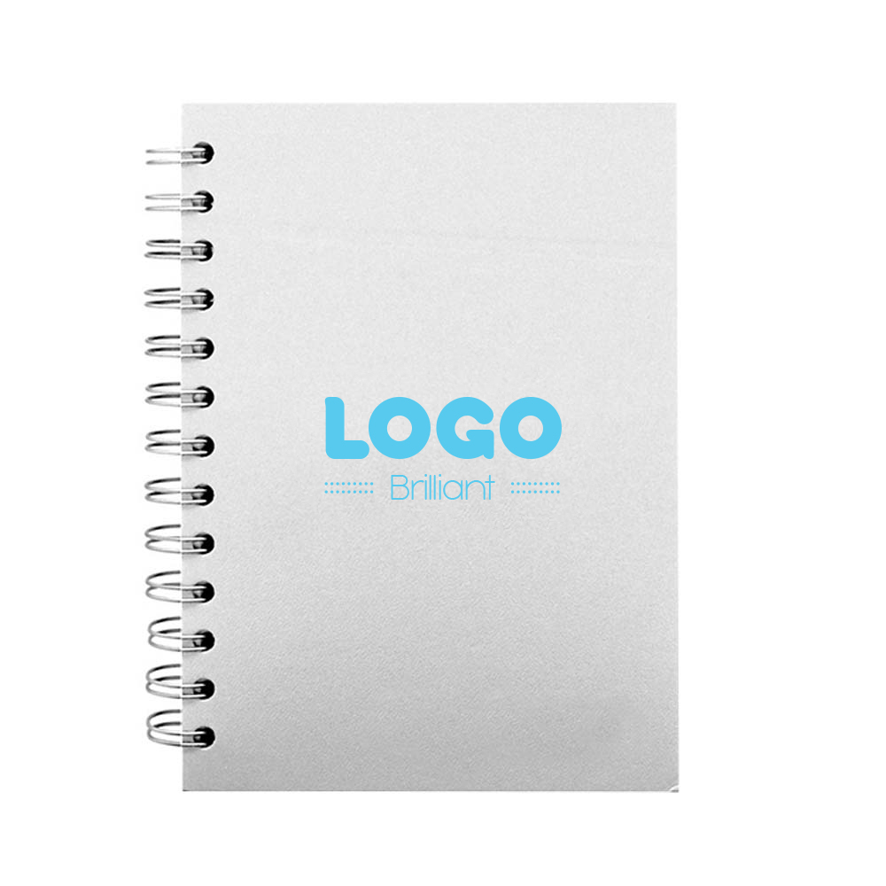 134728 leather spiral notebook one color stamp or blind deboss one location