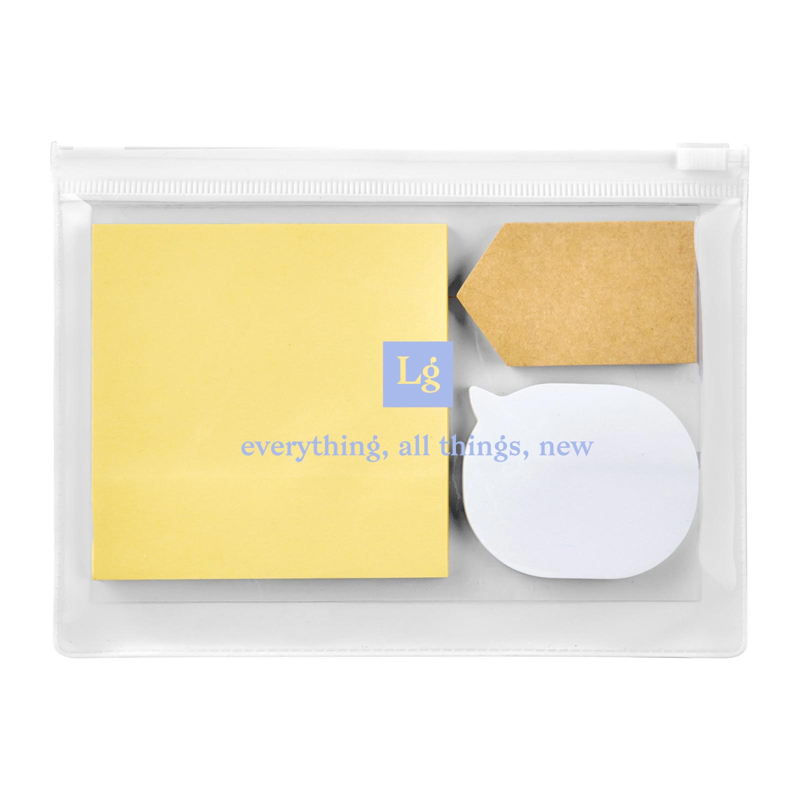 199823 sticky note pouch one color imprint on pouch