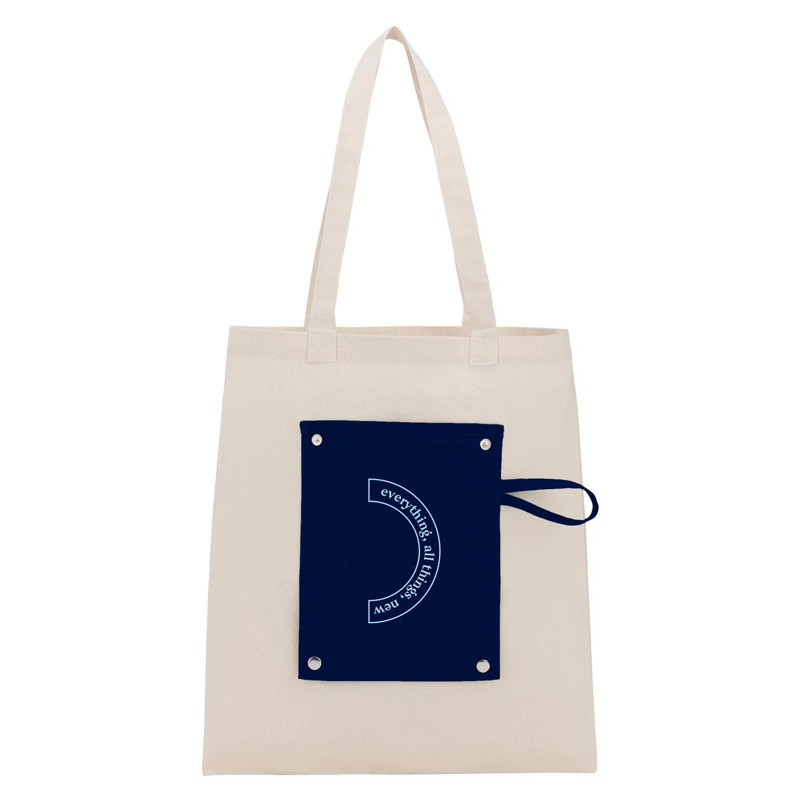199950 canvas snap tote one color imprint only