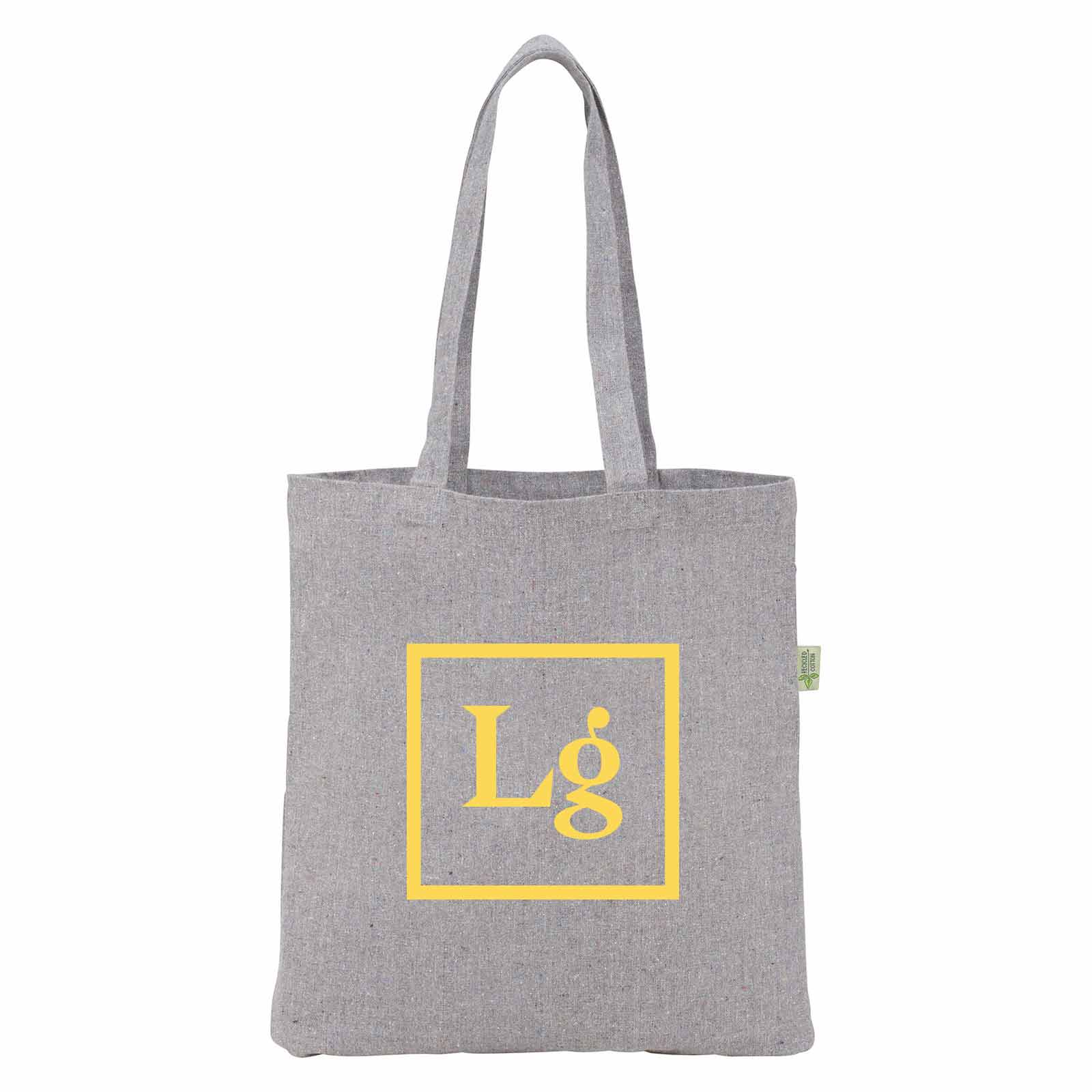 199795 speckled recycled cotton tote one color one location imprint