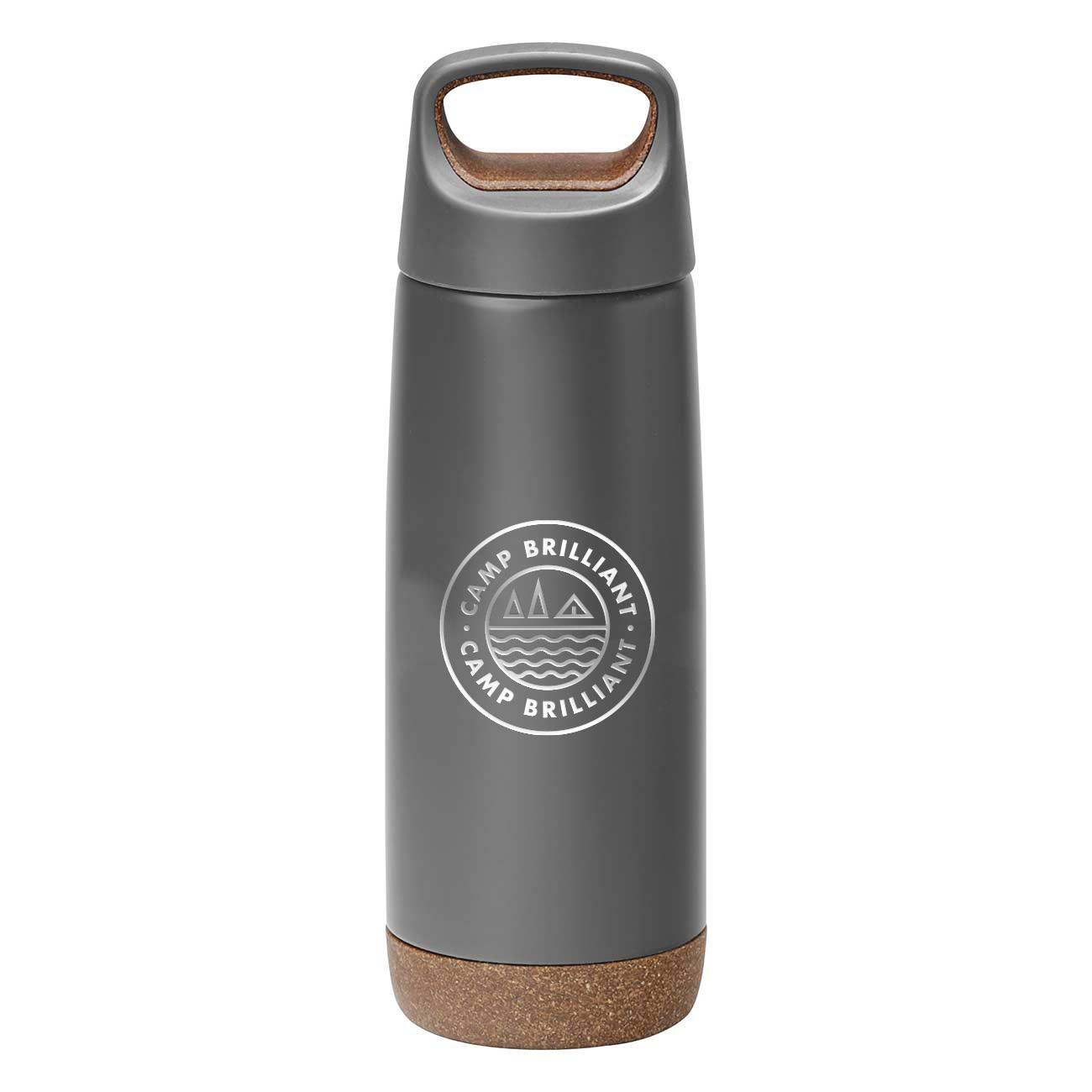 229129 cork vacuum bottle one color one location imprint or laser engraved
