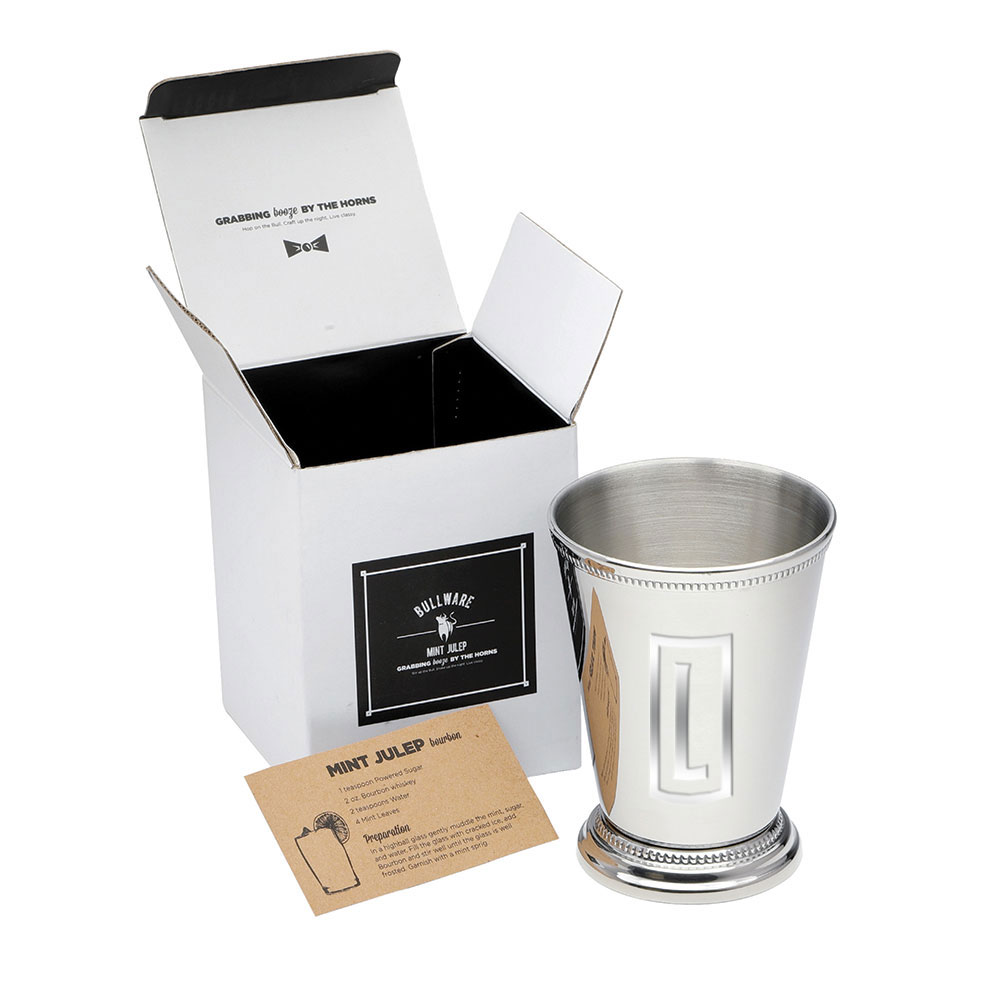 235249 stainless steel julep cup one color imprint or laser engraved one location