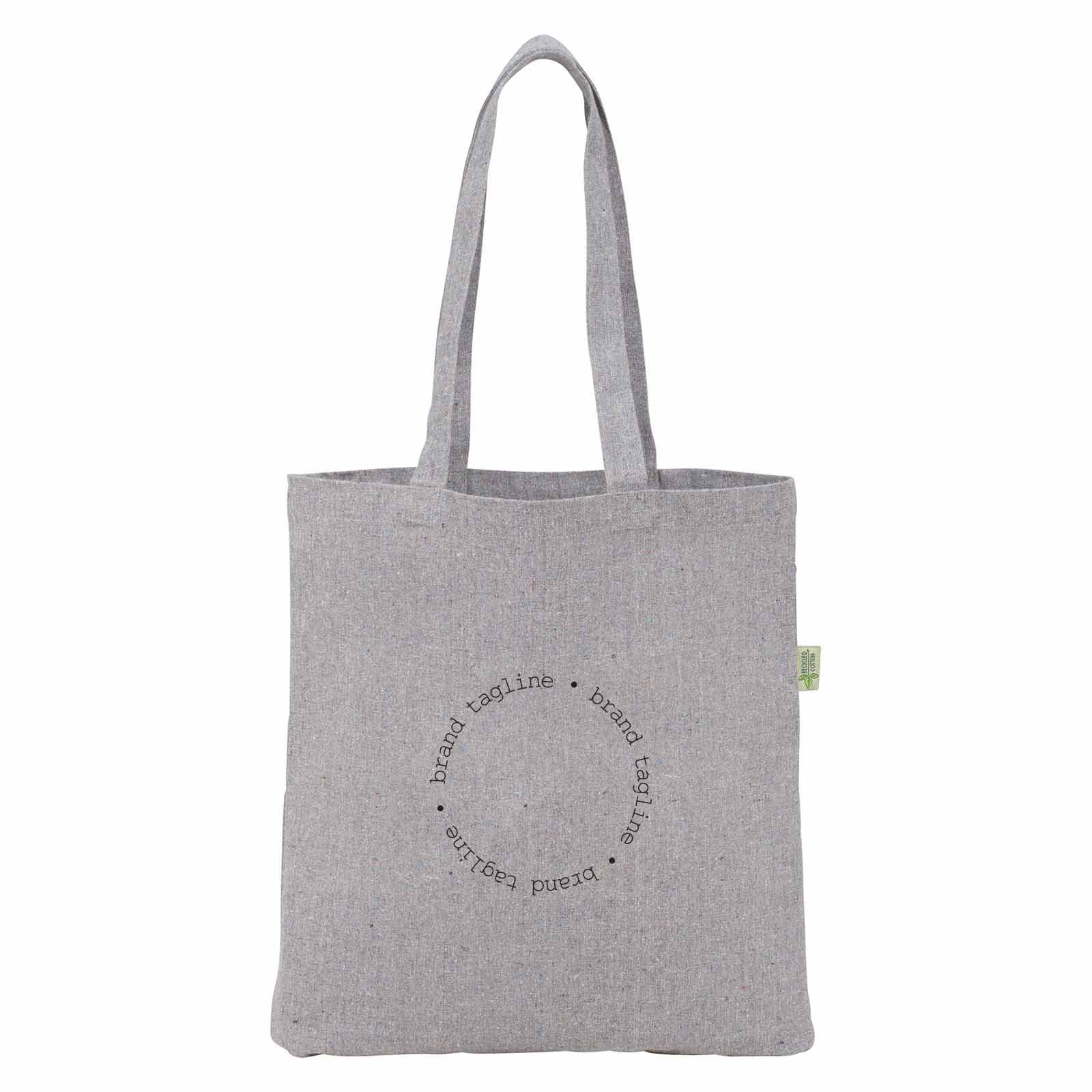 242995 speckled recycled cotton tote one color one location imprint